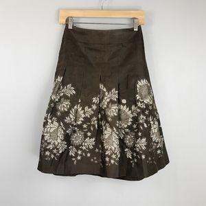 ANN TAYLOR Floral Silk Skirt